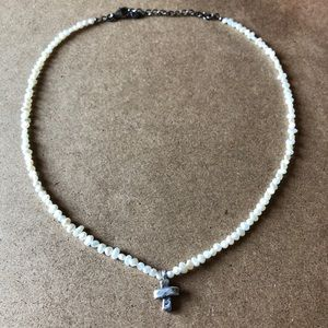 Jewelry - Pearl Necklace with Sterling Silver Cross
